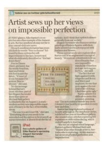 thumbnail of Andrew Taylor 'Artist sews up her views..', Sun Herald, July 24 2011, p31